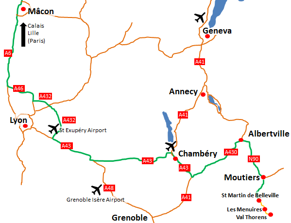 Key roads and airports